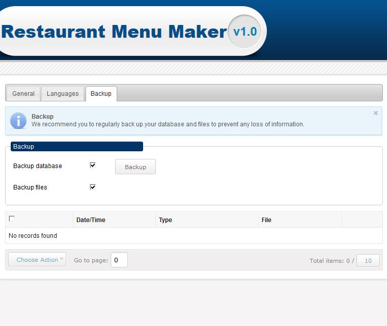 Restaurant Menu Maker System Backup