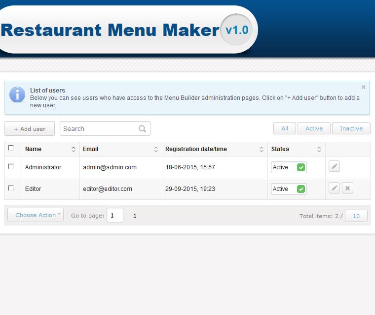 Restaurant Menu Maker User Roles