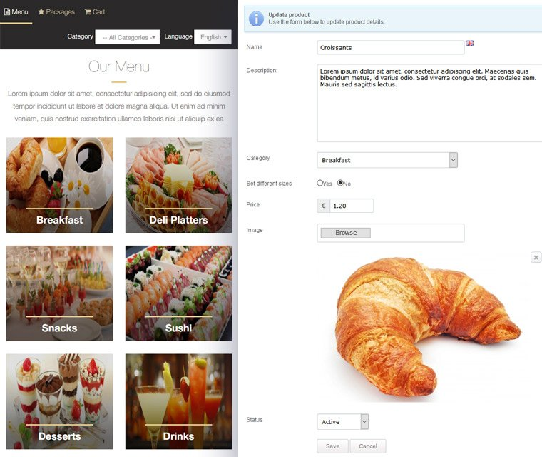 Add products to menu