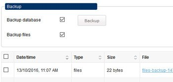 Database backup feature