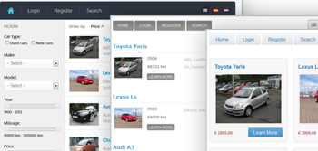 Car classifieds script layouts