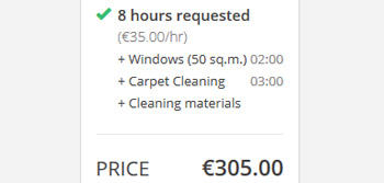 Cleaning service price rates