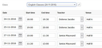 Set up class schedule
