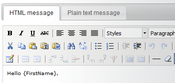 Text and HTML email messages