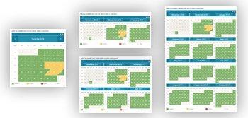 Four monthly calendar views
