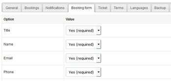 Manage booking system options
