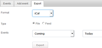 Data Export in PHP Event Calendar
