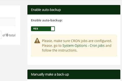 Booking system backup