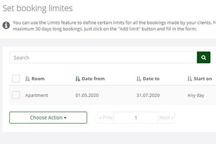 Set booking limits