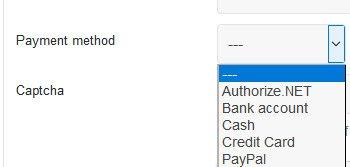 Various payment methods