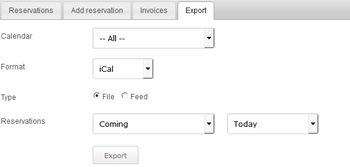 reservations export