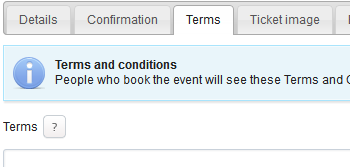Customizable Event Booking Terms