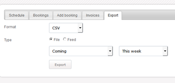 Reservations export CSV, XML, iCal