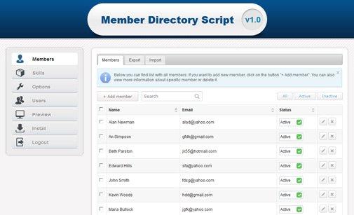 Membership Directory Script