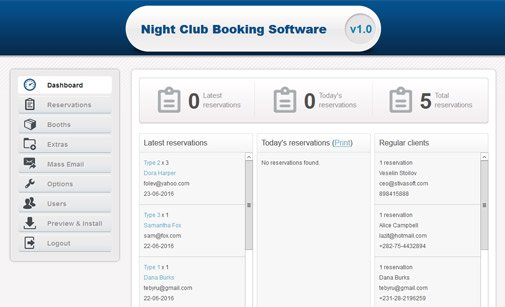 Club booking software backend