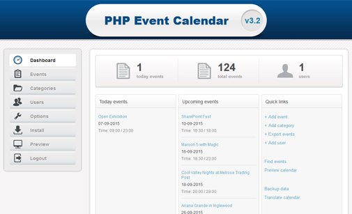 how to create event calendar in php