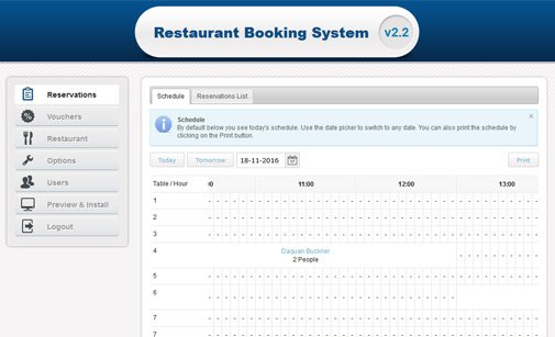 online catering reservation system