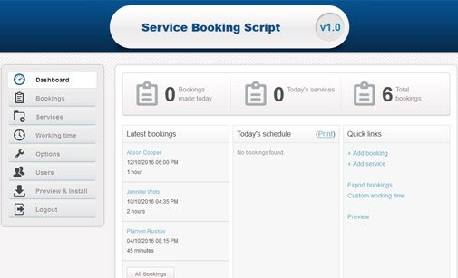 Service booking system