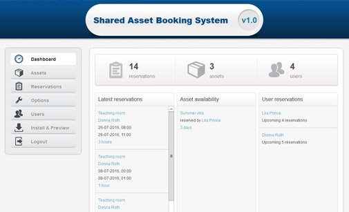 Shared resource booking system