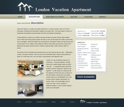 House Renting Website: Vacation Home Website Template #1