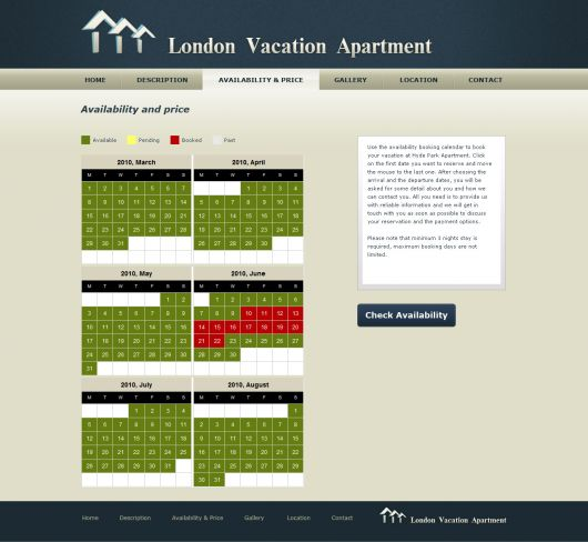 Website For Houses For Rent: Vacation Home Website Template #1