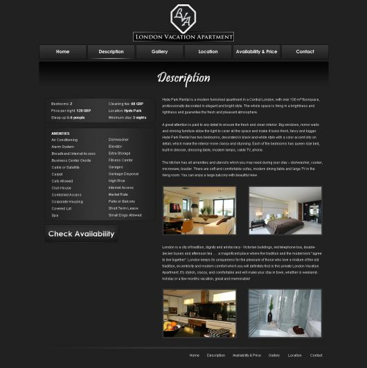 Rent Websites: Free Vacation Rental Website Template #11