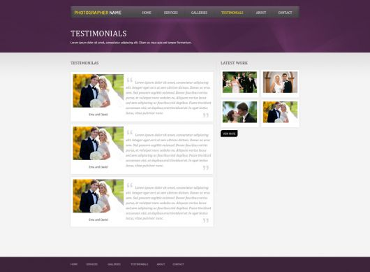 Photographer Website Template 155