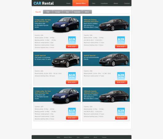 Rent a Car Website Template 163