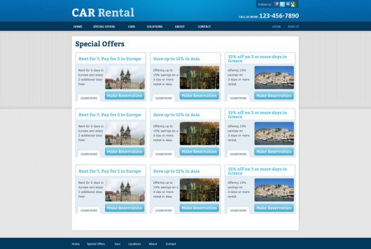 Rent a Car Website Template 164