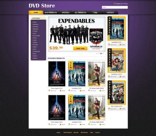 DVD Online Store Template | Free eCommerce Website Templates