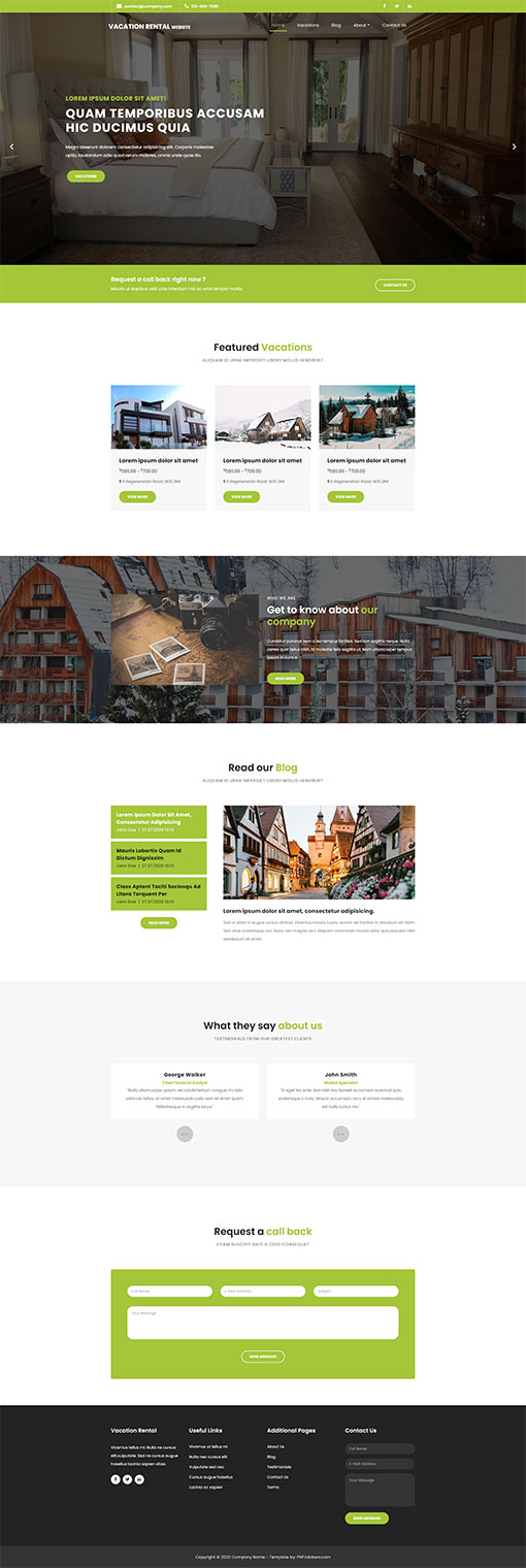 Vacation Home Website Template 10