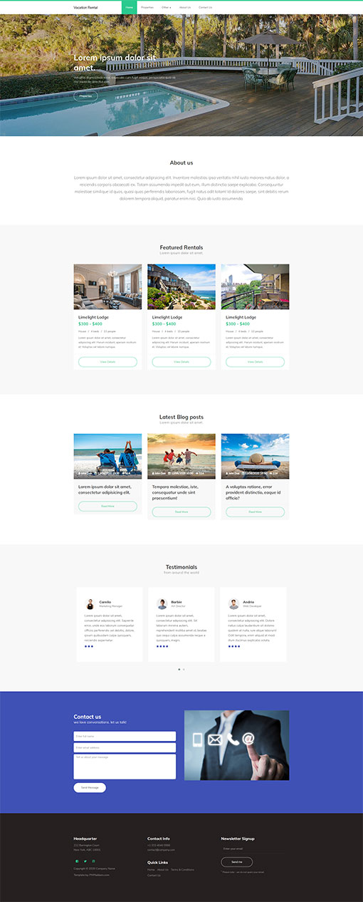 Vacation Rental Website Template 11