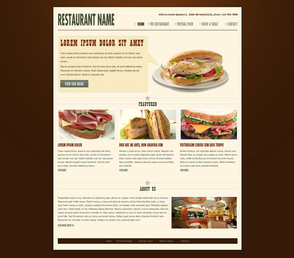 Restaurant website template free web