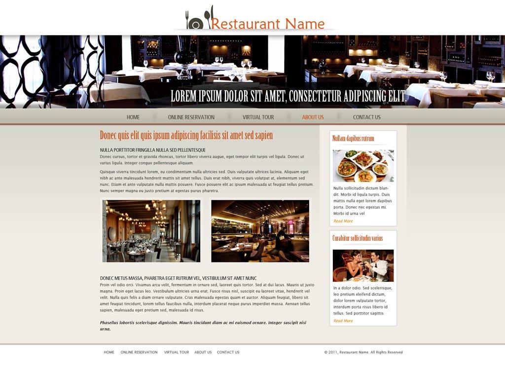 Restaurant Website Design Templates Free Download : Restaurant website template free web
