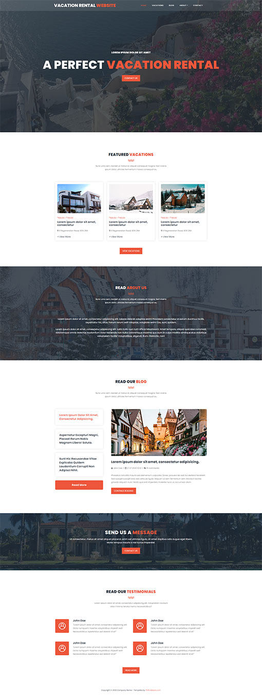 Holiday Home Website Template 12