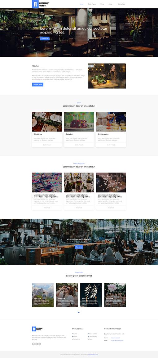 Restaurant Website Template 123