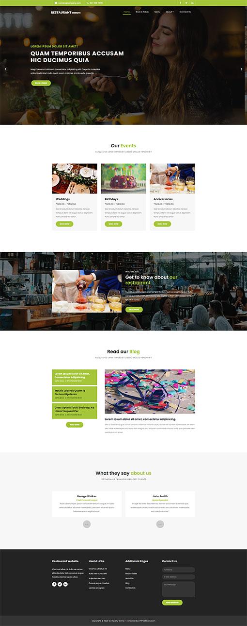 Restaurant Website Template 124