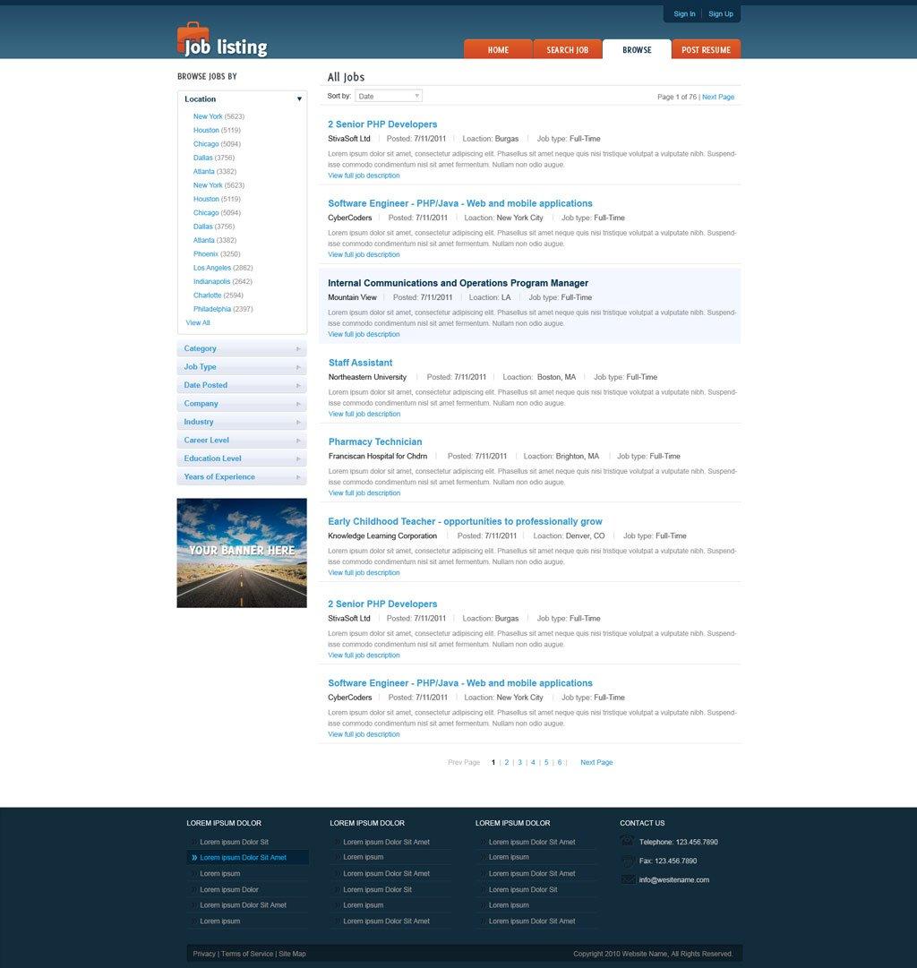 job website template free job portal templates phpjabbers. Black Bedroom Furniture Sets. Home Design Ideas