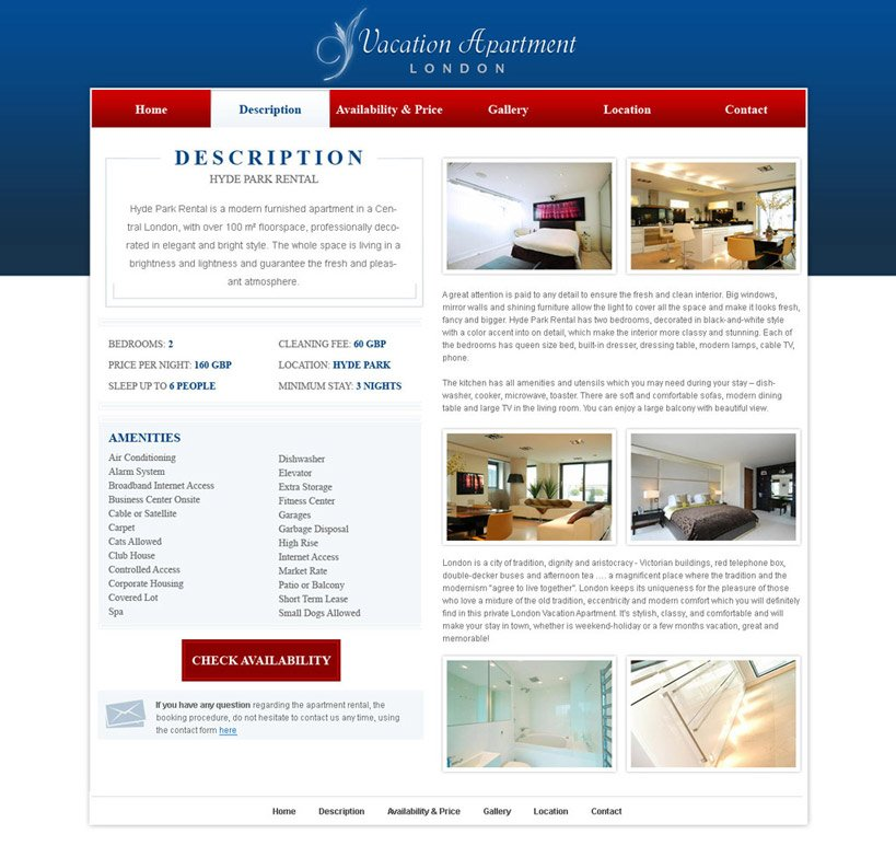 Home Rentals Websites: Free Holiday Home Website Template #14