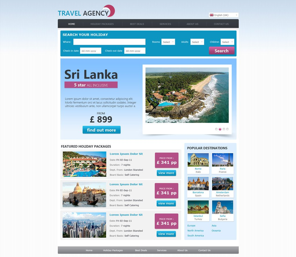 Travel Html Templates Free Travel Agency Website Template | Travel Website ...