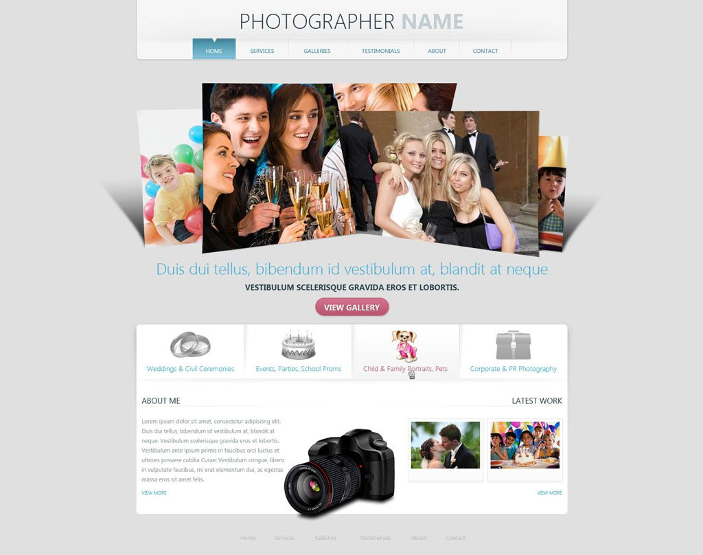 Photographer Website Template | Free Photography Web Templates ...