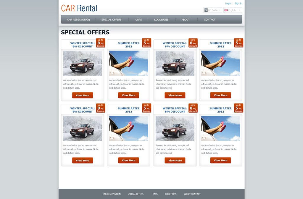 rental website template