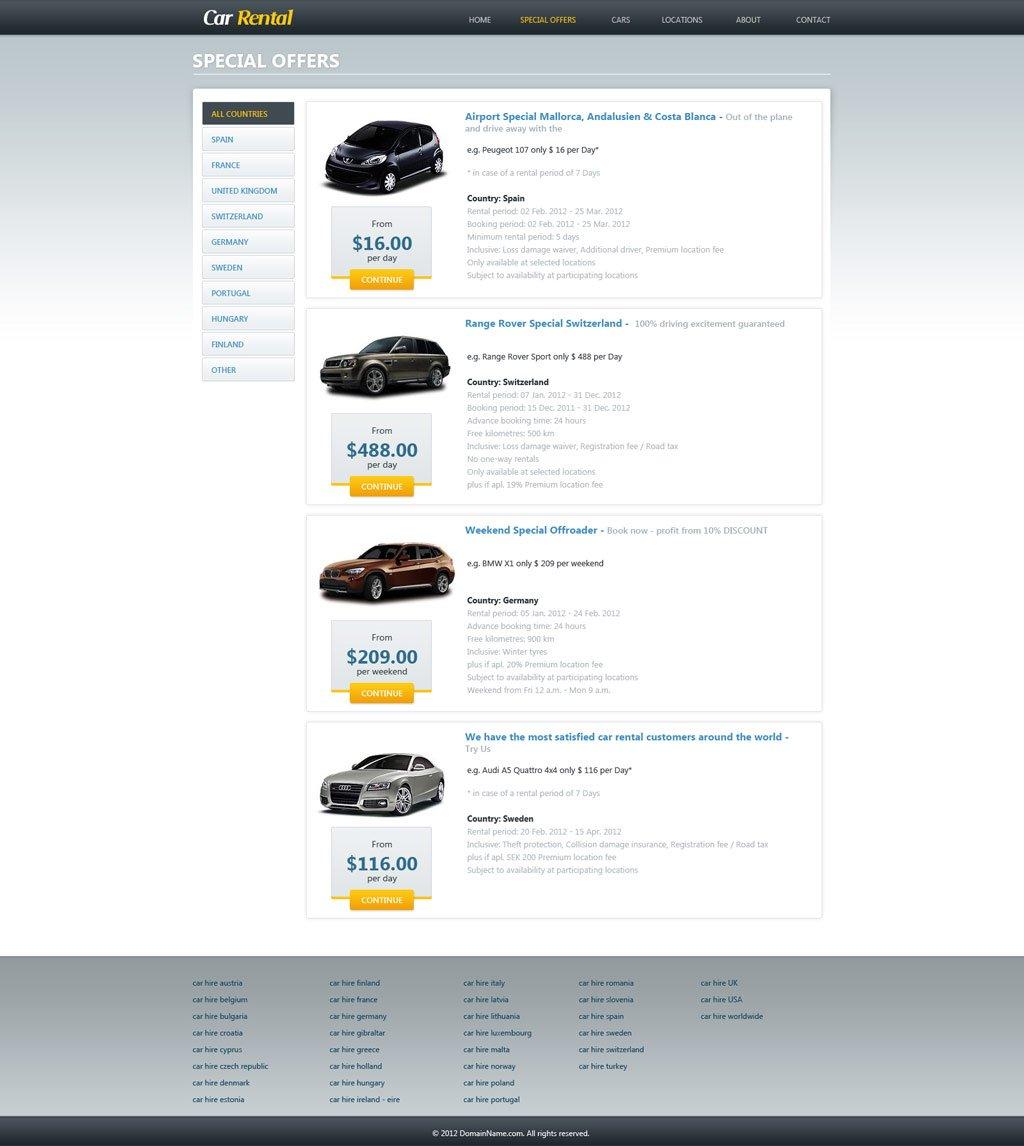 That Rental Site: Free Car Rental Website Template