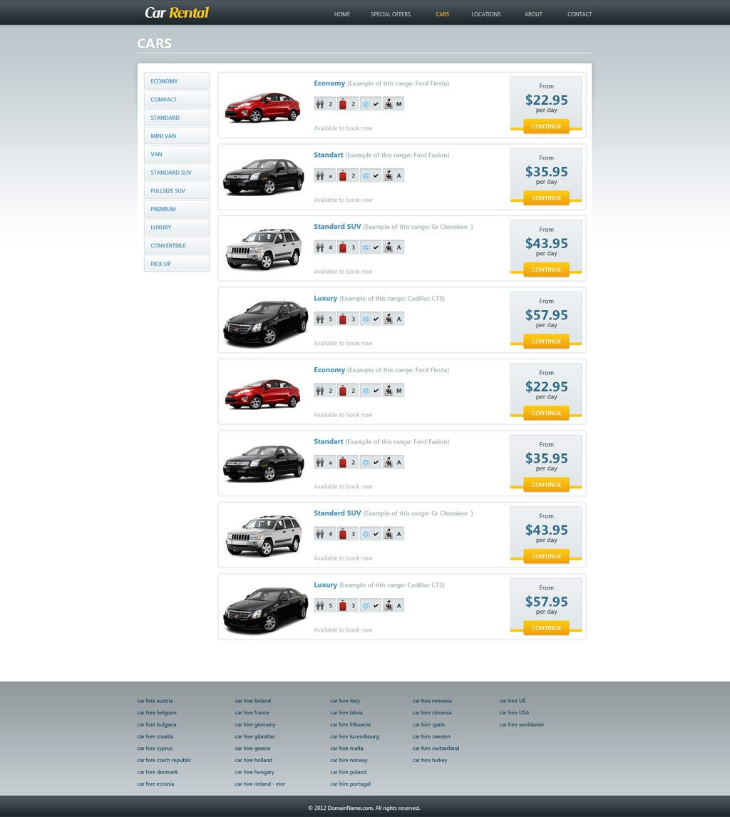 Free car rental website template car rental template for Php homepage template