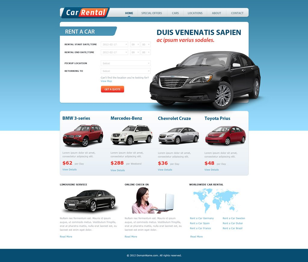 Rental Site: Free Car Rental Website Template