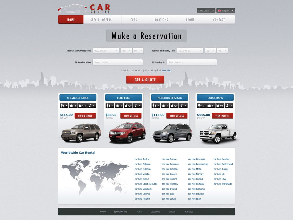 free car rental website template car rental template phpjabbers. Black Bedroom Furniture Sets. Home Design Ideas