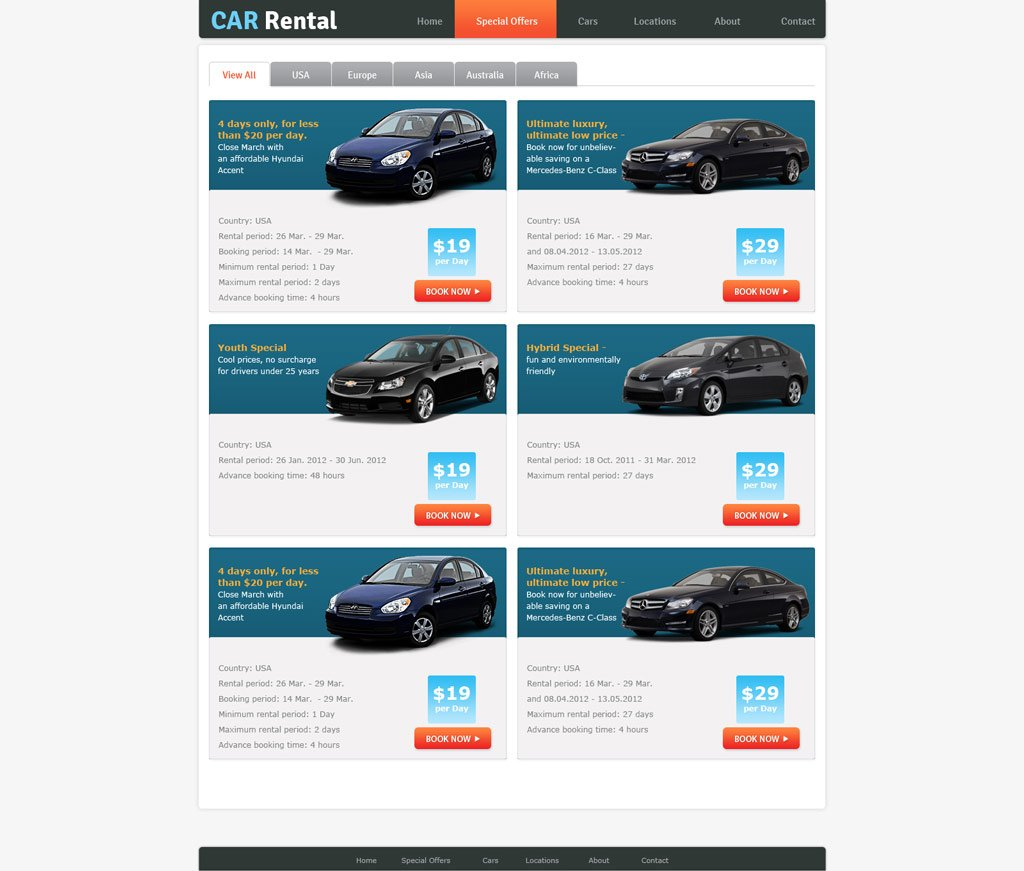 Rental Site: Free Rent A Car Website Template