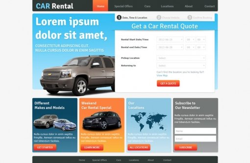 Free Car Rental Website Templates Phpjabbers