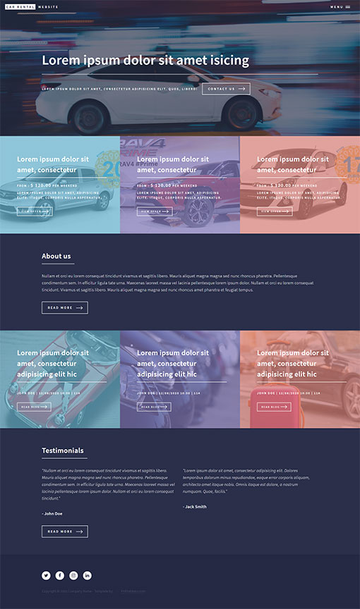 Car Rental Website Template 166