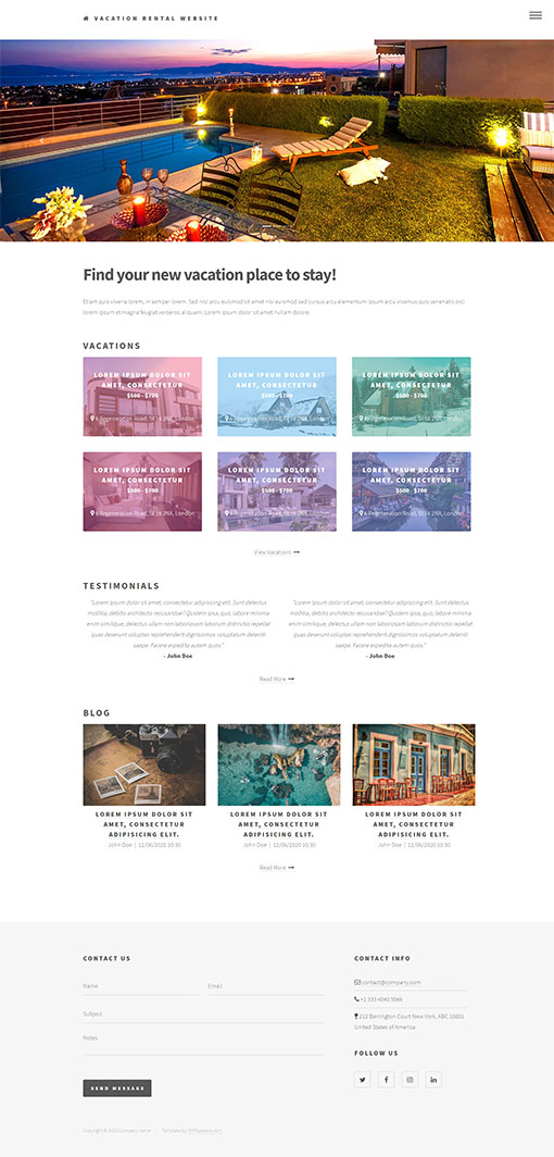 Vacation Rental Website Template 17
